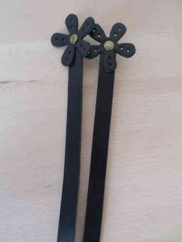 Bag handles- Genuine Leather handles with Flower (16 inches/42cm)