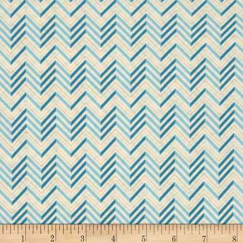 Lovebirds Chevron Cream Blue